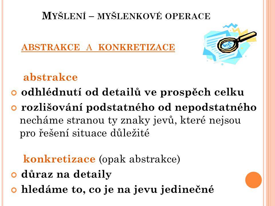 M YŠLENÍ – MYŠLENKOVÉ OPERACE Příklad: Máme k dispozici omezené množství peněz na nákup vánočních dárků.
