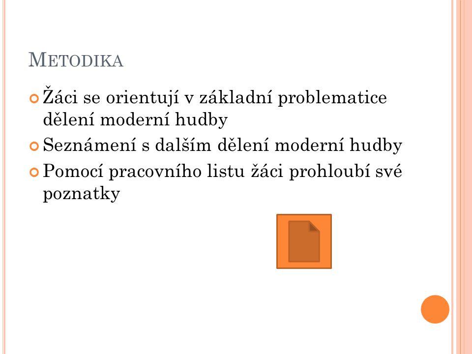 O Název Dělení moderní hudby O Šablona CZ.1.07/1.4.00/21.2698 O Poř.číslo HV 6 O Autor šablony Mgr. Zuzana Vyhnálková DiS O Datum 5.4. 2013