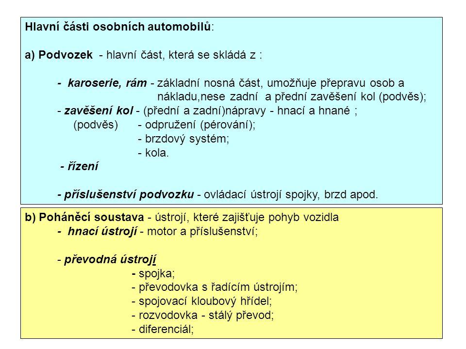 Hlavní části osobních automobilů: a) Podvozek - hlavní část, která se skládá z : - karoserie, rám - základní nosná část, umožňuje přepravu osob a nákl