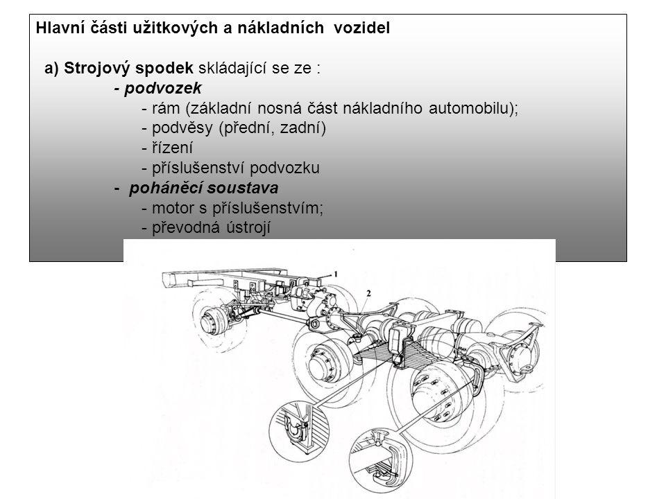 Hlavní části užitkových a nákladních vozidel a) Strojový spodek skládající se ze : - podvozek - rám (základní nosná část nákladního automobilu); - pod