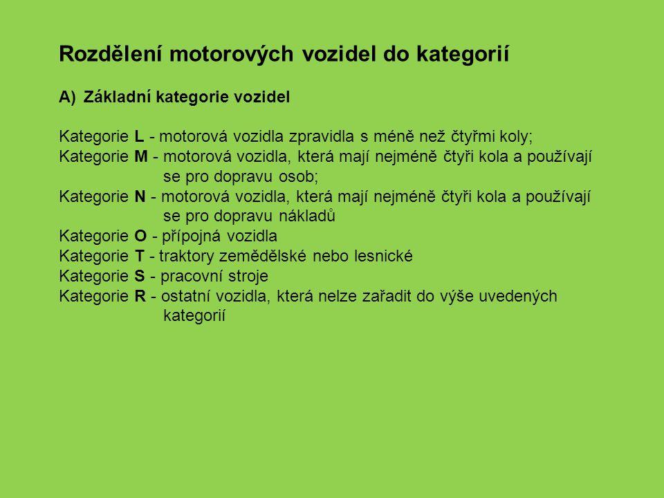 Rozdělení motorových vozidel do kategorií A)Základní kategorie vozidel Kategorie L - motorová vozidla zpravidla s méně než čtyřmi koly; Kategorie M -