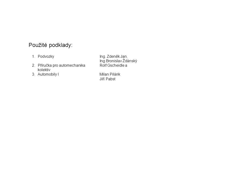 Použité podklady: 1.PodvozkyIng. Zdeněk Jan, Ing.Bronislav Ždánský 2.Příručka pro automechanikaRolf Gscheidle a kolektiv 3.Automobily IMilan Pilárik J