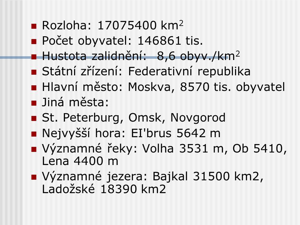 Rozloha: 17075400 km 2 Počet obyvatel: 146861 tis. Hustota zalidnění: 8,6 obyv./km 2 Státní zřízení: Federativní republika Hlavní město: Moskva, 8570