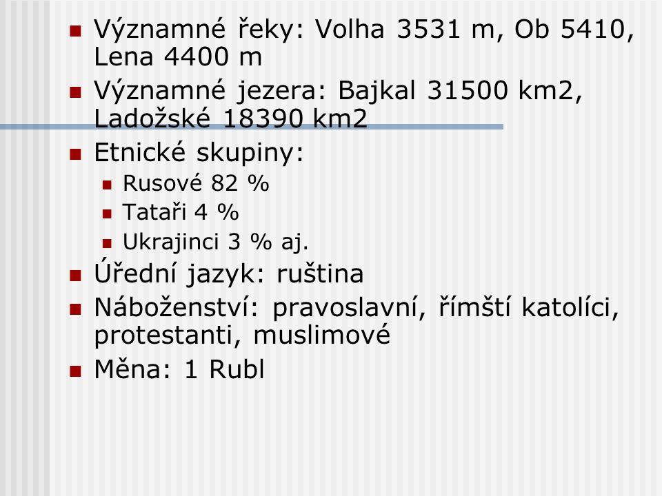 Významné řeky: Volha 3531 m, Ob 5410, Lena 4400 m Významné jezera: Bajkal 31500 km2, Ladožské 18390 km2 Etnické skupiny: Rusové 82 % Tataři 4 % Ukraji