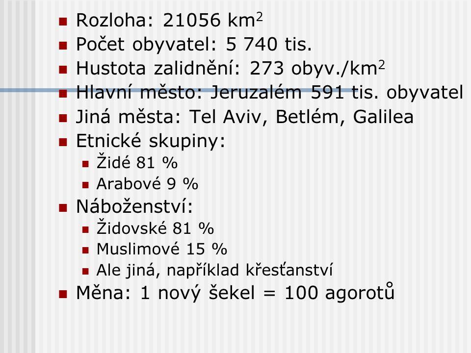 Rozloha: 21056 km 2 Počet obyvatel: 5 740 tis. Hustota zalidnění: 273 obyv./km 2 Hlavní město: Jeruzalém 591 tis. obyvatel Jiná města: Tel Aviv, Betlé