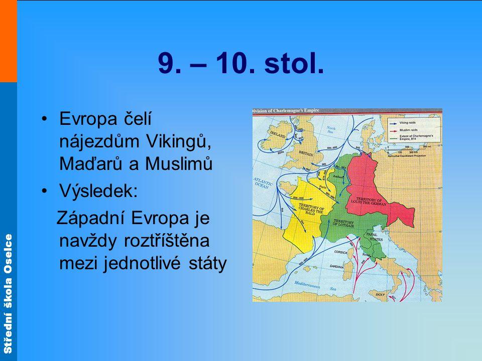 Střední škola Oselce 9. – 10. stol. Evropa čelí nájezdům Vikingů, Maďarů a Muslimů Výsledek: Západní Evropa je navždy roztříštěna mezi jednotlivé stát