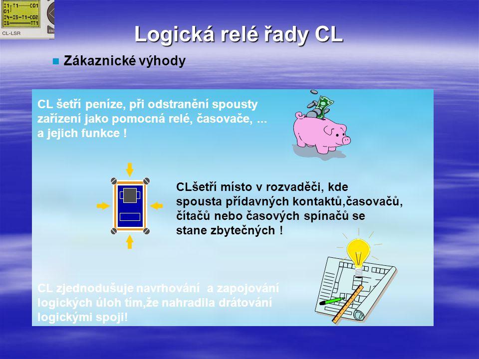 Logická relé řady CL Zákaznické výhody CL šetří peníze, při odstranění spousty zařízení jako pomocná relé, časovače,...
