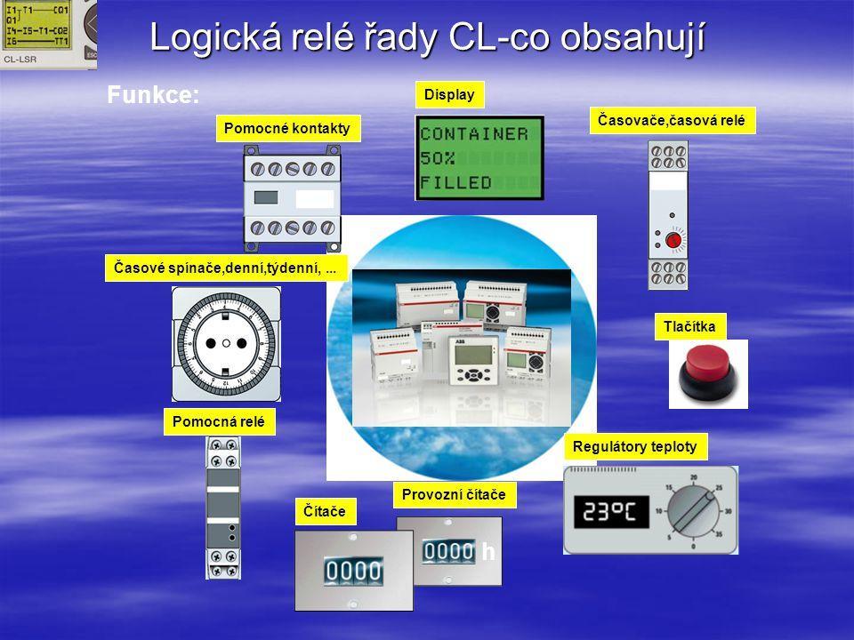 Logická relé řady CL CL-L_ _._ _ _ _ _ _ _ _ Produktová řada CL – Logická relé S =malý, M = Střední, D = Display, E = Rozšíření, A = Příslušenství R =Reléový výstup T = Tranzistorový výstup C = Komunikace D = Display S = System Nemá zvláštní význam Popisovač typu/ podobné jako u řady AC010 Popis typu