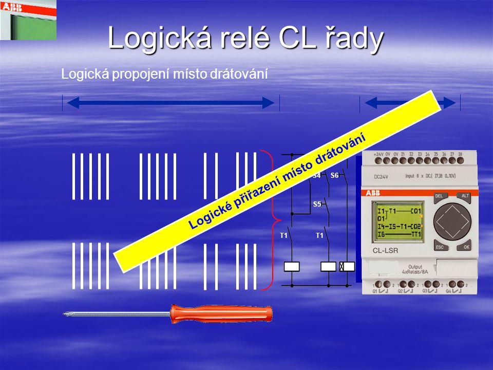 Logická relé řady CL Základní zařízení a rozšiřující moduly C =Hodiny, X = bez displaye, Jednotky displaye K = s keypadem, XK= bez keypadu, S = dálkový display, (L = CPU – display) Ostatní zařízení 12 = 8 vstupů/ 4 výstupy 18 = 12 vstupů/ 6výstupů 20 =12 vstupů/8 výstupů O = bez napájení DC1 = 12 V ss DC2 = 24 V ss AC1 = 24 V stř AC2 = 100…240 V stř AC3 = 100/240 V stř CL-L_ _._ _ _ _ _ _ _ _ Popisovač typu,podobně jako u AC010 Příslušenství SD = Zdroje PS = Software MD = Paměť TK = Kabely TD = Simulator FD = Upevňovací konzola pro uchycení šrouby
