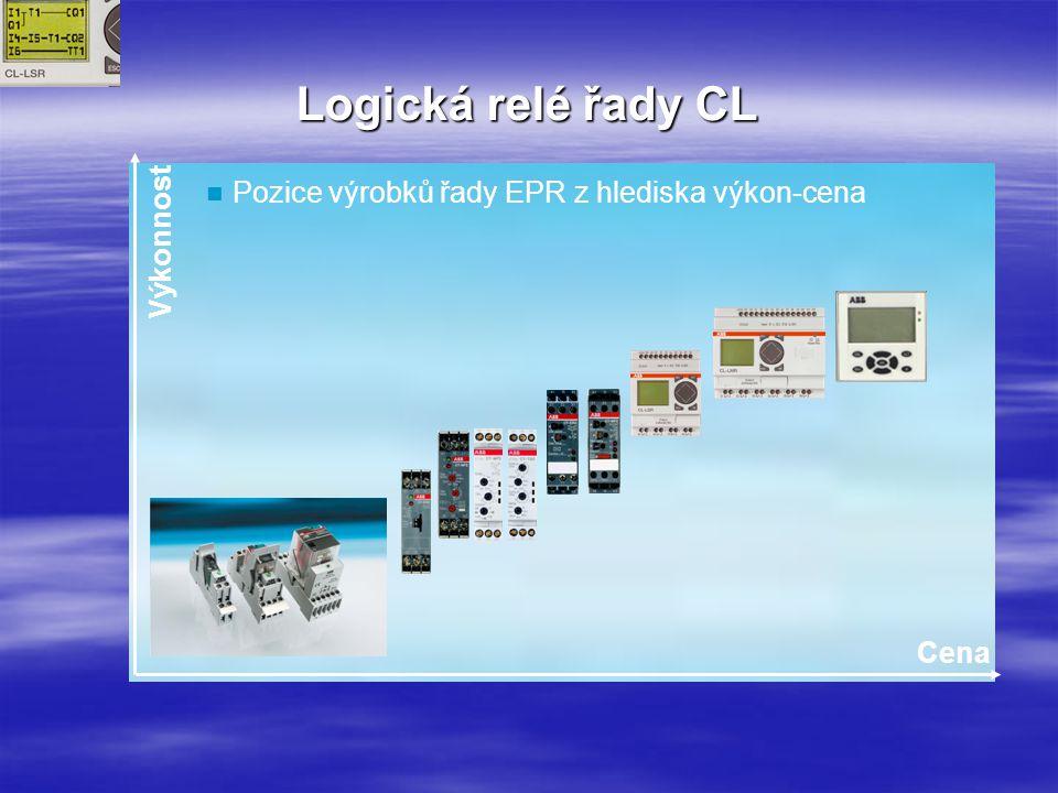 Logická relé řady CL Stará AC010Nová řada CL LM025-CX12TDCCL-LST.CX12DC2 DX011-EX18RDCCL-LER.18DC2 C = Čas E = Rozšíření X = bez displaye DC =ss napájení, AC =stř.