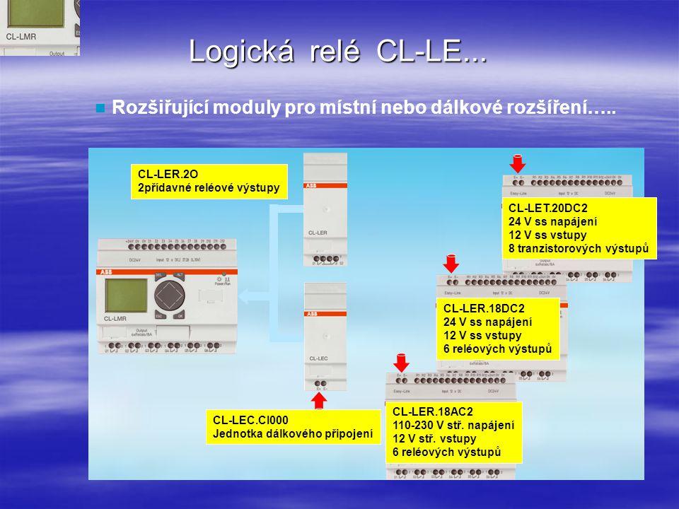 Logická relé CL-LE... Rozšiřující moduly pro místní nebo dálkové rozšíření…..