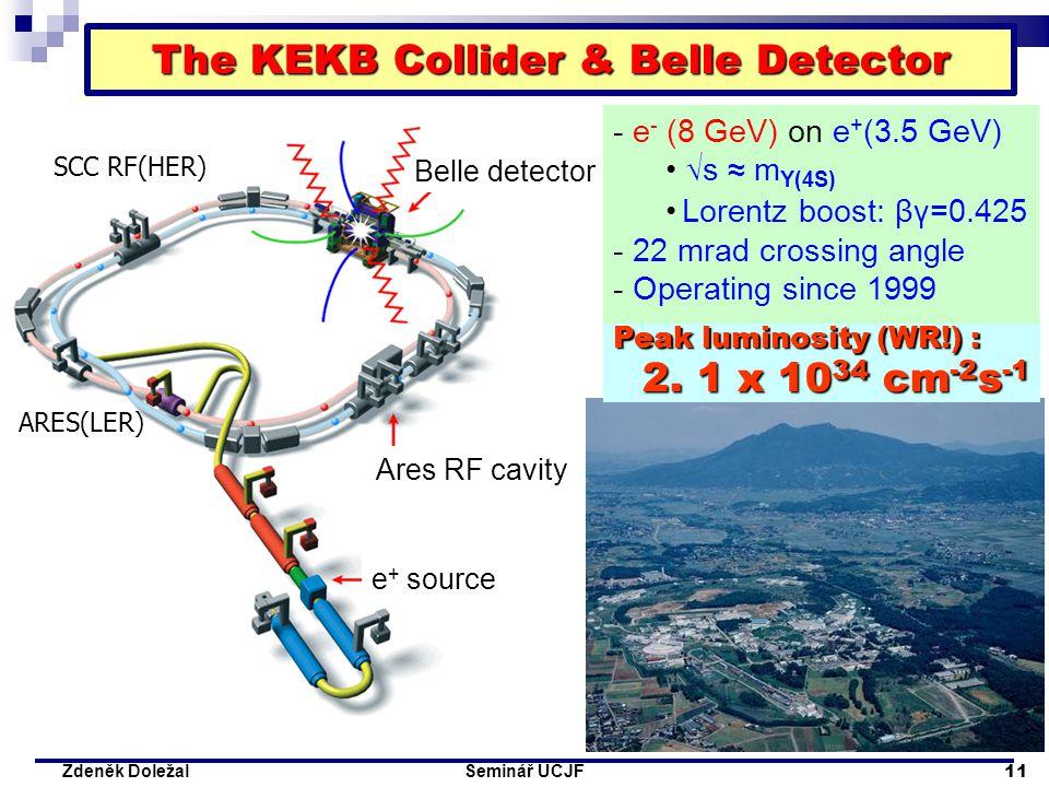 Seminář ÚČJF 11 Zdeněk Doležal e + source Ares RF cavity Belle detector Peak luminosity (WR!) : 2. 1 x 10 34 cm -2 s -1 SCC RF(HER) ARES(LER) The KE