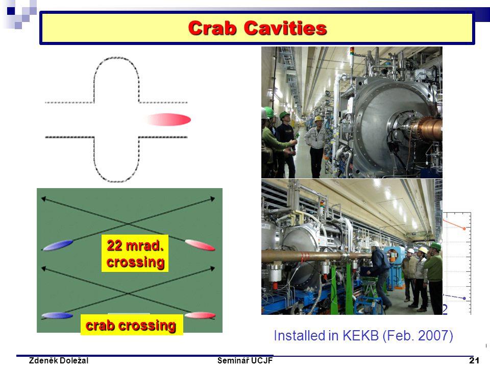 Seminář ÚČJF 21 Zdeněk Doležal Crab Cavities Crossing angle 22 mrad Head-on (crab) (Simulation : K. Ohmi ) Installed in KEKB (Feb. 2007) 22 mrad. cros