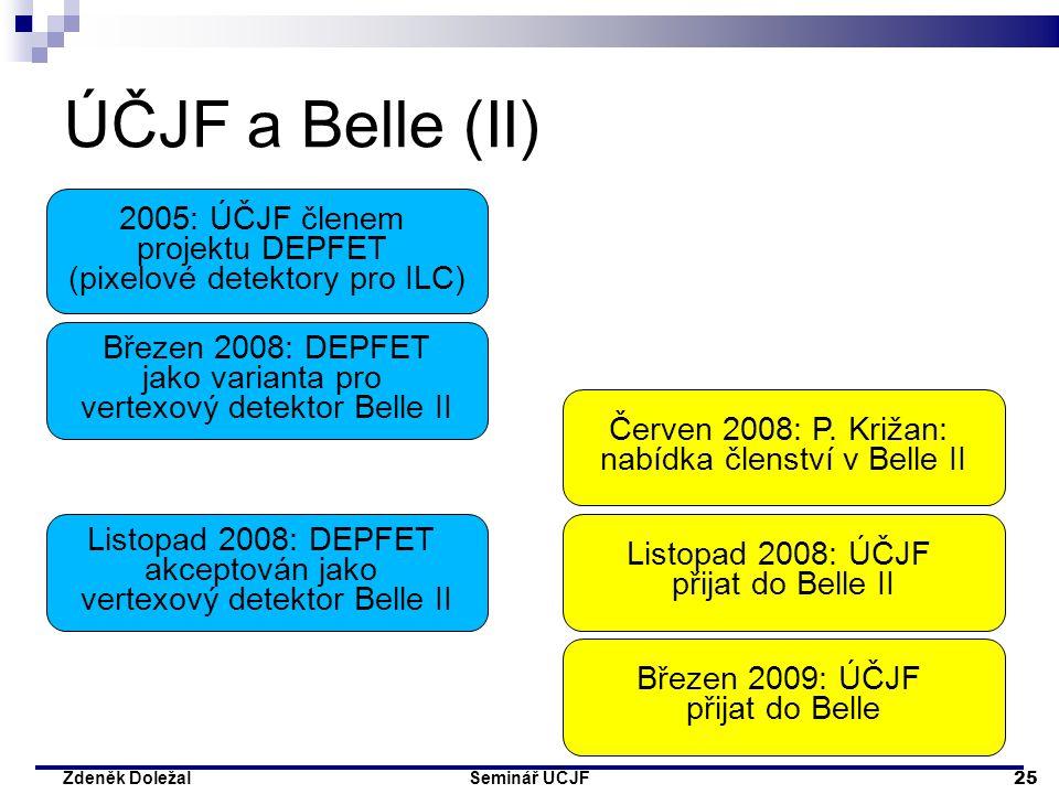 Seminář ÚČJF 25 Zdeněk Doležal ÚČJF a Belle (II) 2005: ÚČJF členem projektu DEPFET (pixelové detektory pro ILC) Březen 2008: DEPFET jako varianta pro
