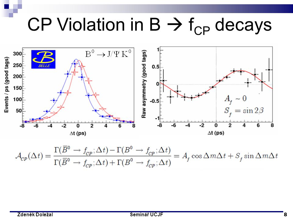 Seminář ÚČJF 9 Zdeněk Doležal … As late as 2001, the two particle detectors BaBar at Stanford, USA and Belle at Tsukuba, Japan, both detected broken symmetries independently of each other.