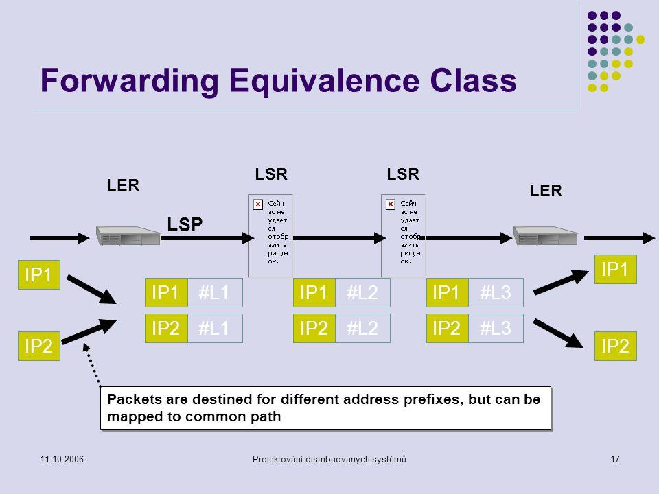 11.10.2006Projektování distribuovaných systémů16 MPLS koncepce směrování a přepínání Forwarding Equivalence Class (FEC) Definován jako skupina paketů, které mohou být považovány pro potřeby forwardování jako ekvivalentní.