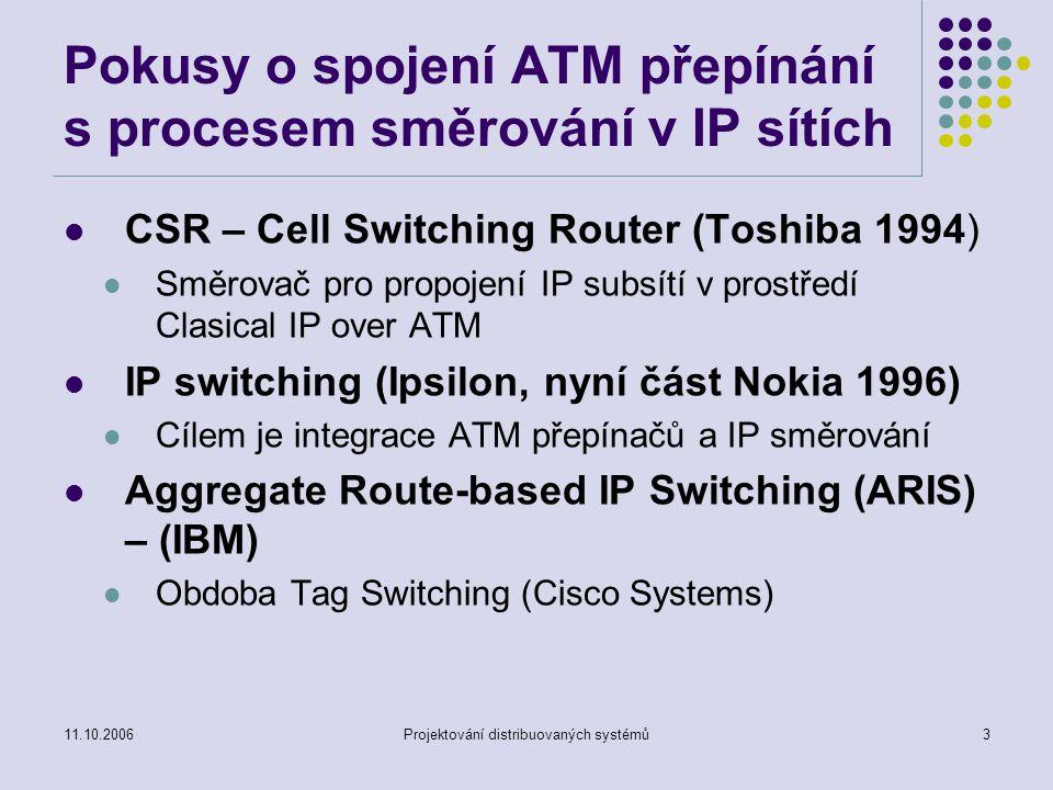 11.10.2006Projektování distribuovaných systémů2 MLPS Multiprotocol Label Switching MLPS vznikl jako reakce na nové změny ve využití IP (přenos zvuku, dat, multimédia současně i zvlášť) Tendence budování VPN (Virtual Private Networks) – využití veřejných IP sítí pro realizaci podnikových sítí.
