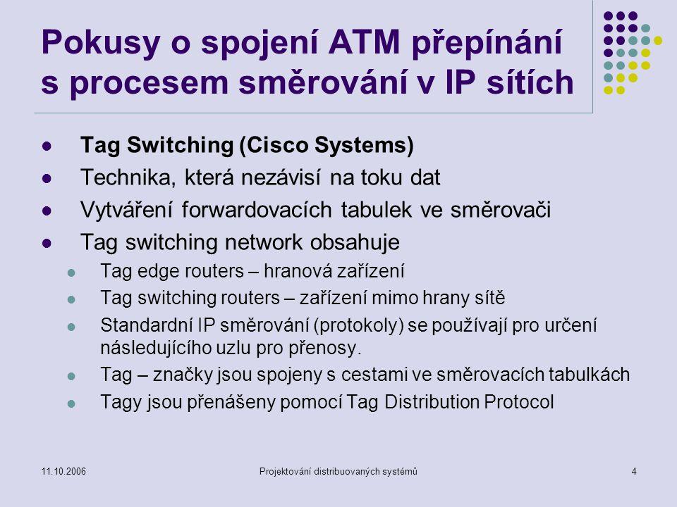 11.10.2006Projektování distribuovaných systémů3 Pokusy o spojení ATM přepínání s procesem směrování v IP sítích CSR – Cell Switching Router (Toshiba 1994) Směrovač pro propojení IP subsítí v prostředí Clasical IP over ATM IP switching (Ipsilon, nyní část Nokia 1996) Cílem je integrace ATM přepínačů a IP směrování Aggregate Route-based IP Switching (ARIS) – (IBM) Obdoba Tag Switching (Cisco Systems)
