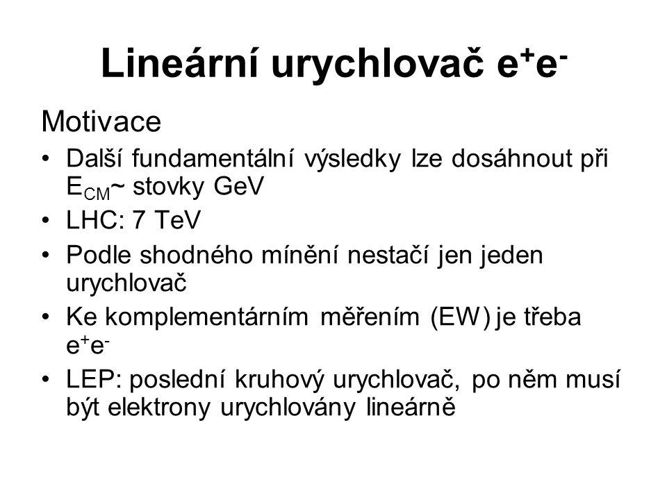 Lineární urychlovač e + e - Motivace Další fundamentální výsledky lze dosáhnout při E CM ~ stovky GeV LHC: 7 TeV Podle shodného mínění nestačí jen jeden urychlovač Ke komplementárním měřením (EW) je třeba e + e - LEP: poslední kruhový urychlovač, po něm musí být elektrony urychlovány lineárně