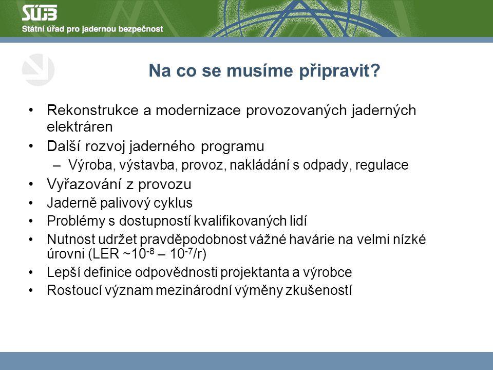 Na co se musíme připravit? Rekonstrukce a modernizace provozovaných jaderných elektráren Další rozvoj jaderného programu –Výroba, výstavba, provoz, na