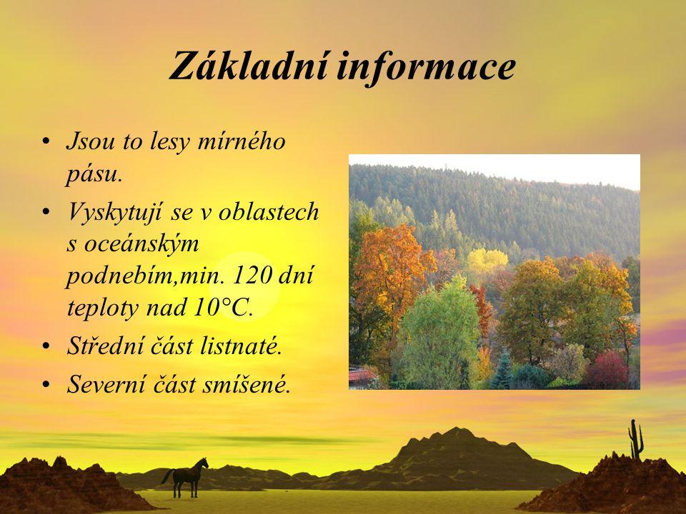 Základní informace Jsou to lesy mírného pásu. Vyskytují se v oblastech s oceánským podnebím,min. 120 dní teploty nad 10°C. Střední část listnaté. Seve