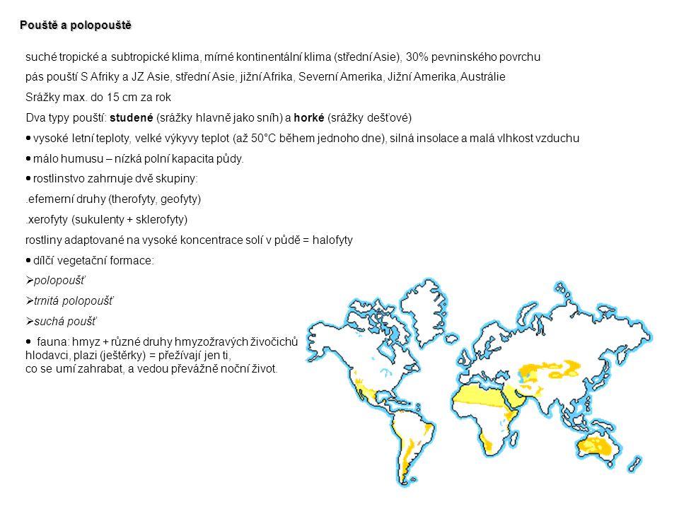 Pouště a polopouště suché tropické a subtropické klima, mírné kontinentální klima (střední Asie), 30% pevninského povrchu pás pouští S Afriky a JZ Asi