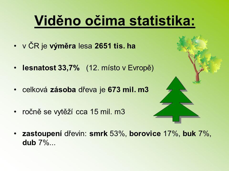 Viděno očima statistika: v ČR je výměra lesa 2651 tis. ha lesnatost 33,7% (12. místo v Evropě) celková zásoba dřeva je 673 mil. m3 ročně se vytěží cca
