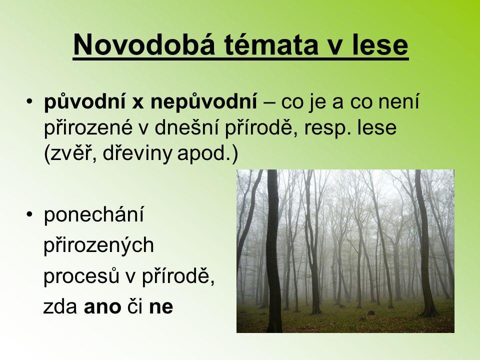 Novodobá témata v lese původní x nepůvodní – co je a co není přirozené v dnešní přírodě, resp. lese (zvěř, dřeviny apod.) ponechání přirozených proces