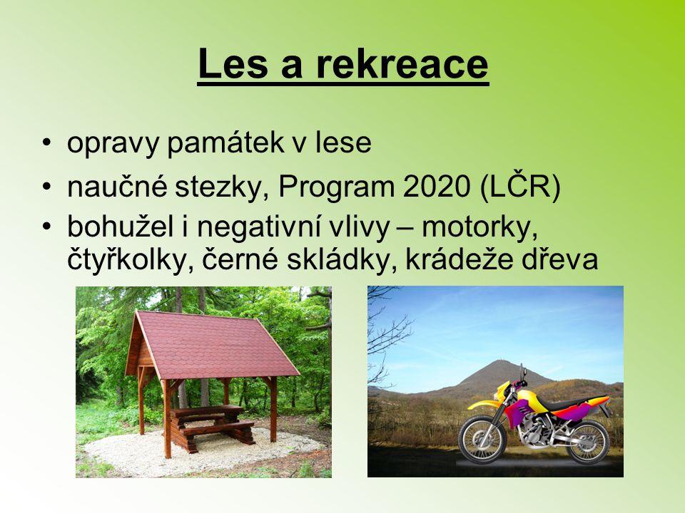 Les a rekreace opravy památek v lese naučné stezky, Program 2020 (LČR) bohužel i negativní vlivy – motorky, čtyřkolky, černé skládky, krádeže dřeva