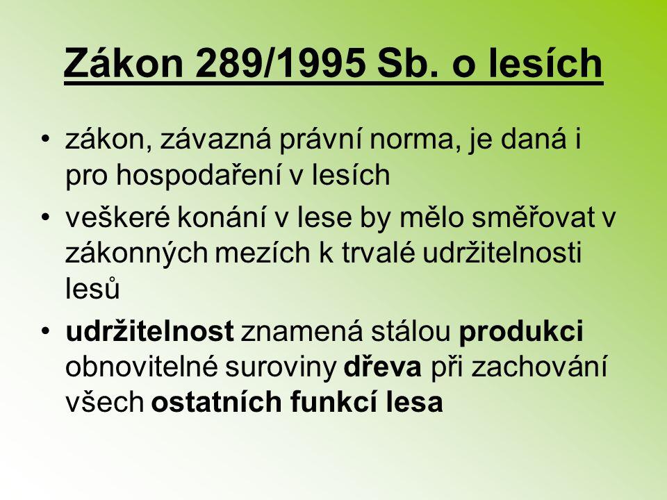 Zákon 289/1995 Sb. o lesích zákon, závazná právní norma, je daná i pro hospodaření v lesích veškeré konání v lese by mělo směřovat v zákonných mezích