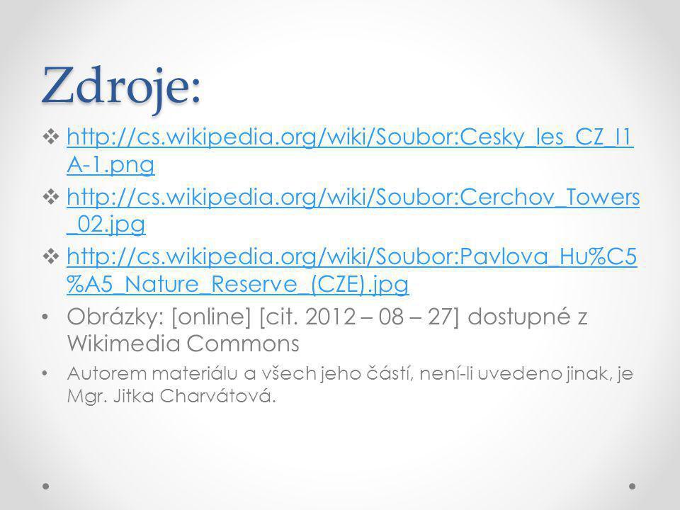 Zdroje:  http://cs.wikipedia.org/wiki/Soubor:Cesky_les_CZ_I1 A-1.png http://cs.wikipedia.org/wiki/Soubor:Cesky_les_CZ_I1 A-1.png  http://cs.wikipedi