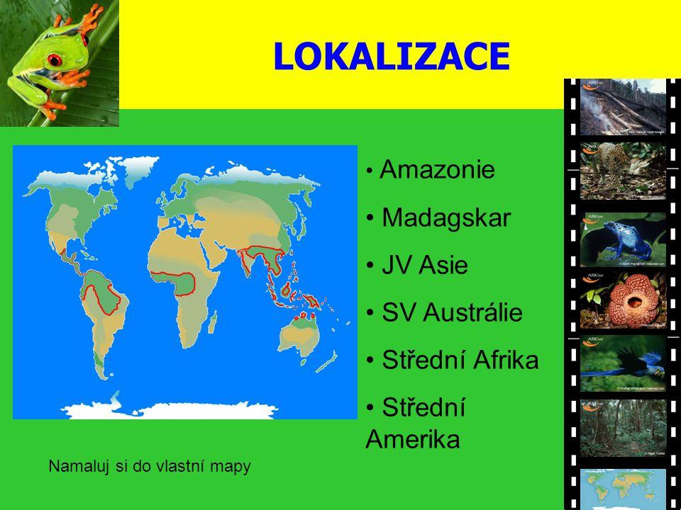 LOKALIZACE Amazonie Madagskar JV Asie SV Austrálie Střední Afrika Střední Amerika Namaluj si do vlastní mapy