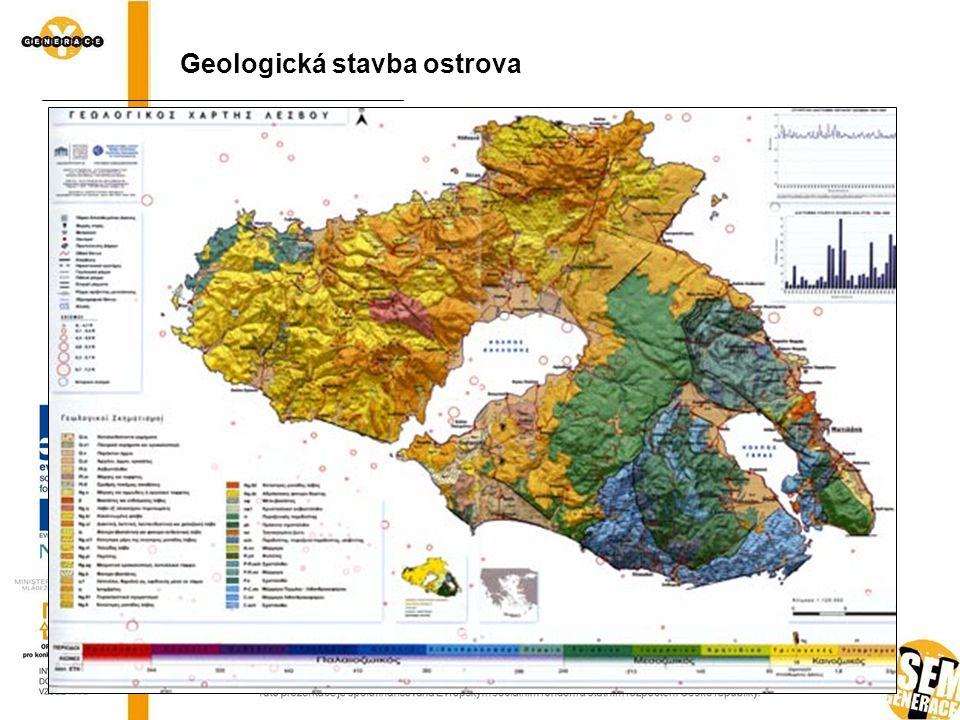 Zjednodušená mapa ostrova (Beck et al., 2001) podle Fytikas et al. (1984), Pe-Pipper, Piper (1993), Zouzos, Fytikas (1997) a Fytikas et al. (1999) Geo