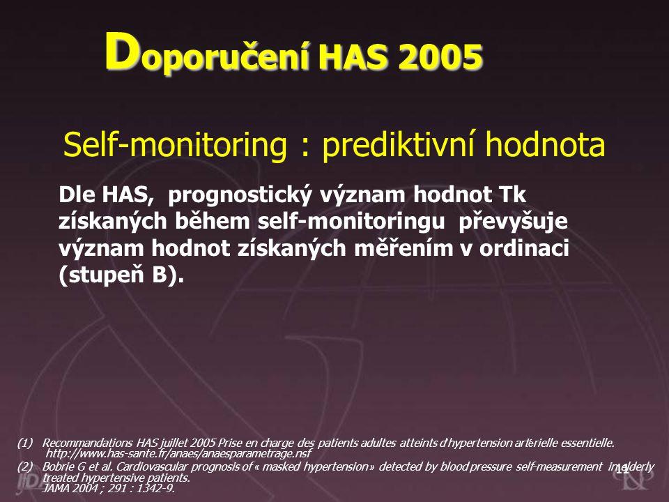 11 Dle HAS, prognostický význam hodnot Tk získaných během self-monitoringu převyšuje význam hodnot získaných měřením v ordinaci (stupeň B). Self-monit