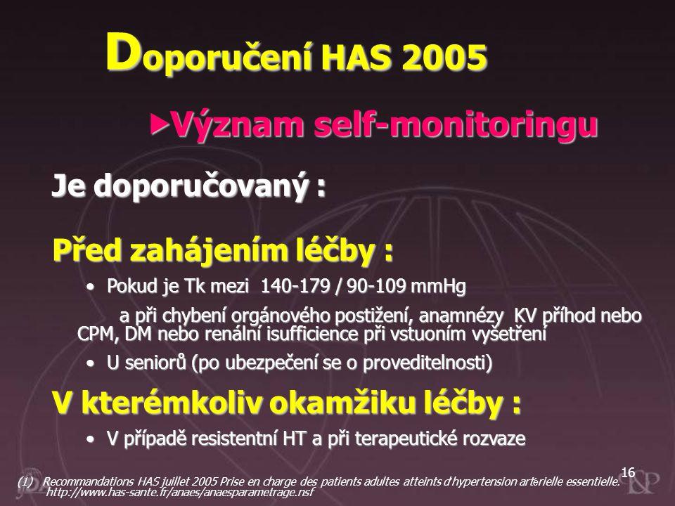 16 Je doporučovaný : Před zahájením léčby : Pokud je Tk mezi 140-179 / 90-109 mmHgPokud je Tk mezi 140-179 / 90-109 mmHg a při chybení orgánového post