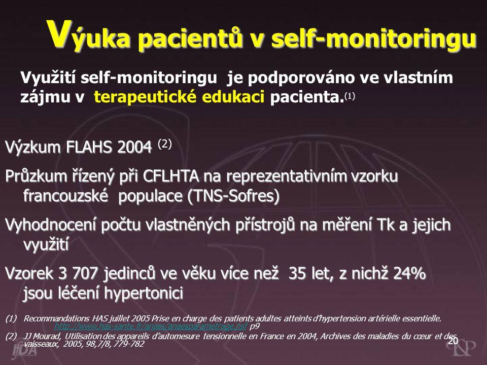 20 Využití self-monitoringu je podporováno ve vlastním zájmu v terapeutické edukaci pacienta. (1) V ýuka pacientů v self-monitoringu Výzkum FLAHS 2004