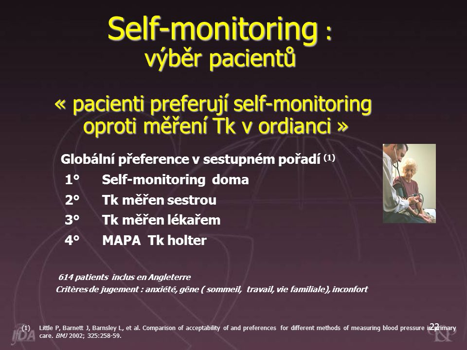 22 Self-monitoring : výběr pacientů (1)Little P, Barnett J, Barnsley L, et al. Comparison of acceptability of and preferences for different methods of