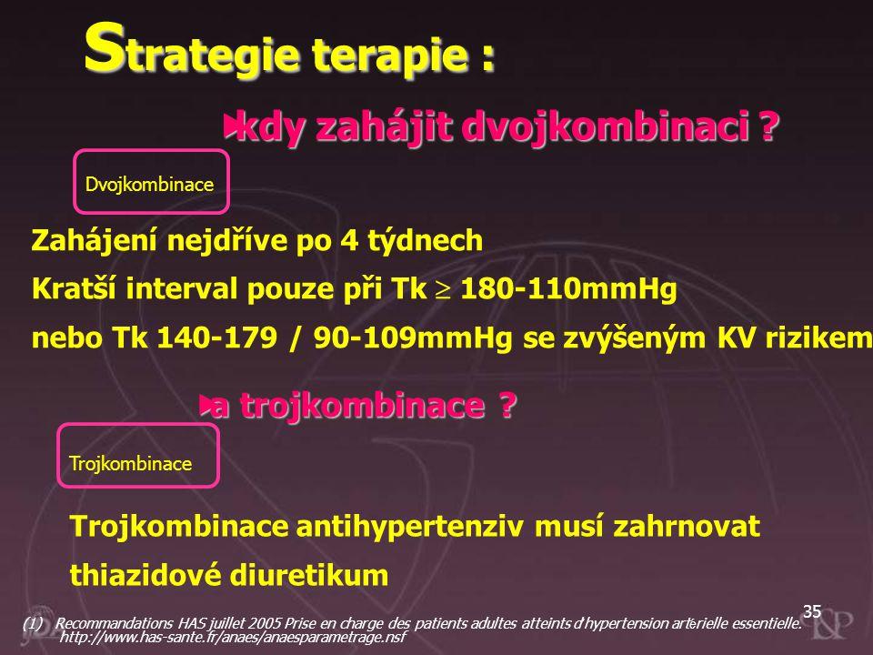 35 Trojkombinace Trojkombinace antihypertenziv musí zahrnovat thiazidové diuretikum Zahájení nejdříve po 4 týdnech Kratší interval pouze při Tk  180-