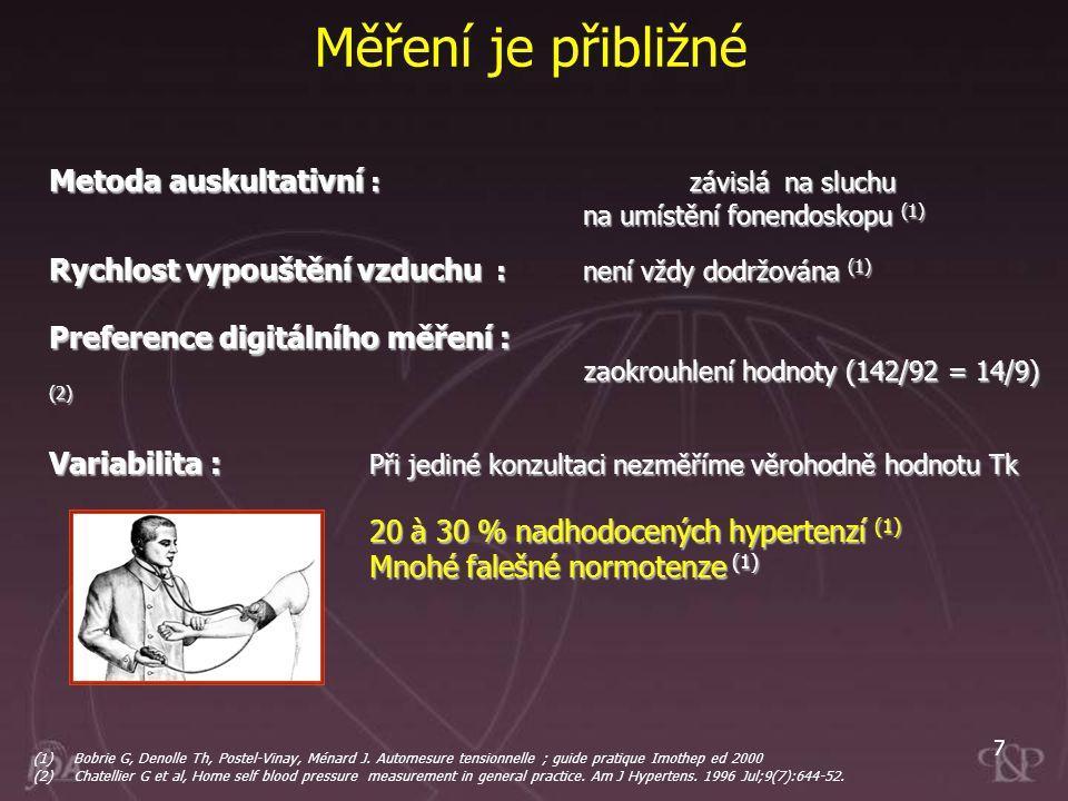 7 Měření je přibližné Metoda auskultativní : závislá na sluchu na umístění fonendoskopu (1) Rychlost vypouštění vzduchu :není vždy dodržována (1) Pref