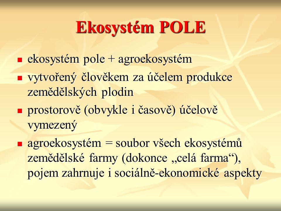 """Ekosystém POLE ekosystém pole + agroekosystém ekosystém pole + agroekosystém vytvořený člověkem za účelem produkce zemědělských plodin vytvořený člověkem za účelem produkce zemědělských plodin prostorově (obvykle i časově) účelově vymezený prostorově (obvykle i časově) účelově vymezený agroekosystém = soubor všech ekosystémů zemědělské farmy (dokonce """"celá farma ), pojem zahrnuje i sociálně-ekonomické aspekty agroekosystém = soubor všech ekosystémů zemědělské farmy (dokonce """"celá farma ), pojem zahrnuje i sociálně-ekonomické aspekty"""
