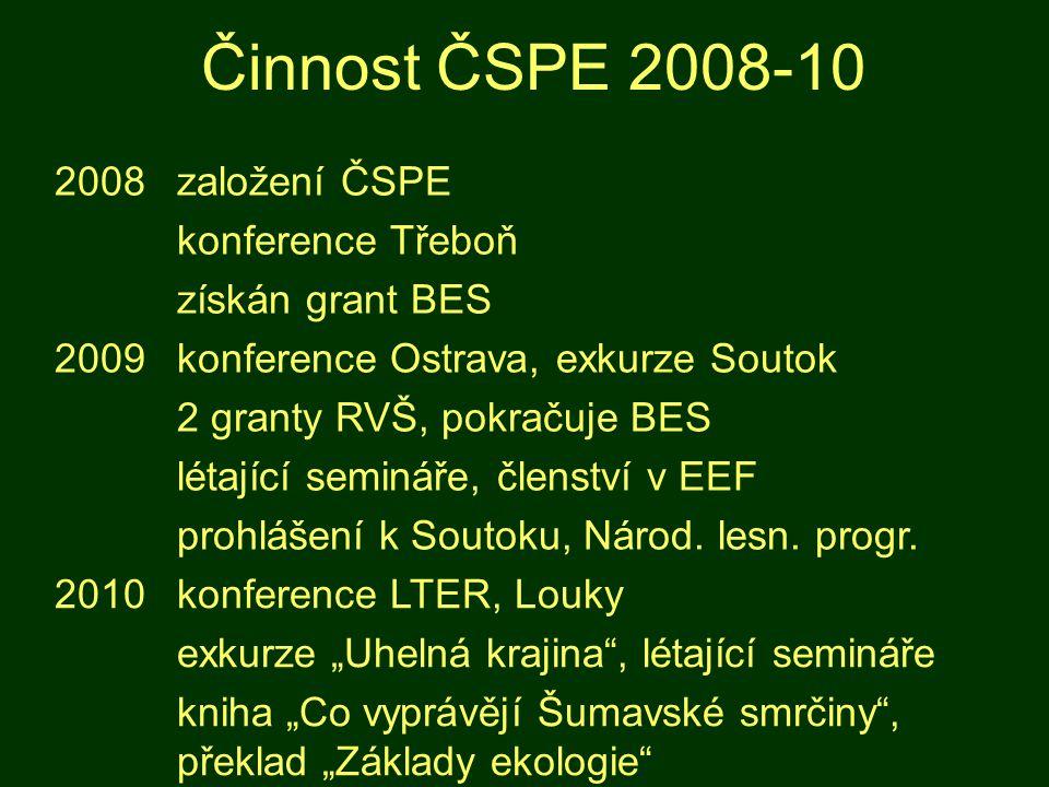 Činnost ČSPE 2008-10 2008založení ČSPE konference Třeboň získán grant BES 2009konference Ostrava, exkurze Soutok 2 granty RVŠ, pokračuje BES létající semináře, členství v EEF prohlášení k Soutoku, Národ.