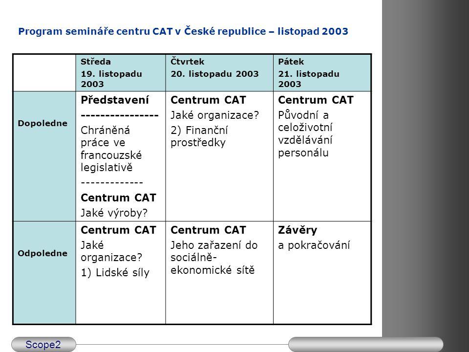 Scope2 Centrum CAT a jeho zařazení do sociálně- ekonomické sítě Potřebuje být uznáno jako sociální podnik –Dvojité zařazení do průmyslového sektoru (různé profesní odbory) a do vlastního sociálního sektoru