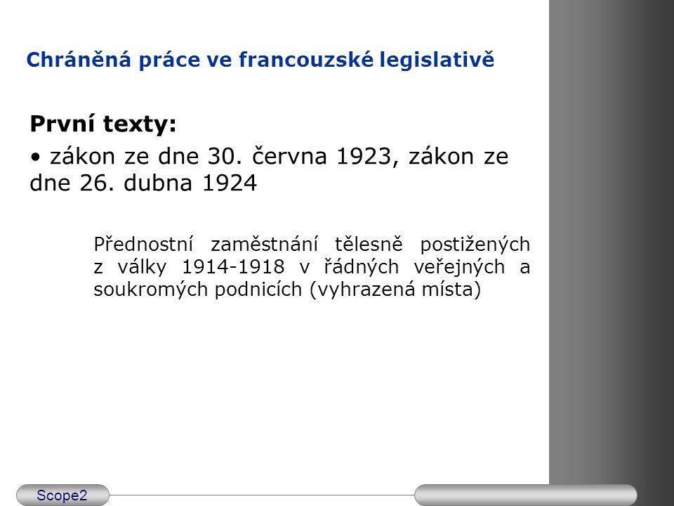 Scope2 Chráněná práce ve francouzské legislativě První texty: zákon ze dne 30. června 1923, zákon ze dne 26. dubna 1924 Přednostní zaměstnání tělesně