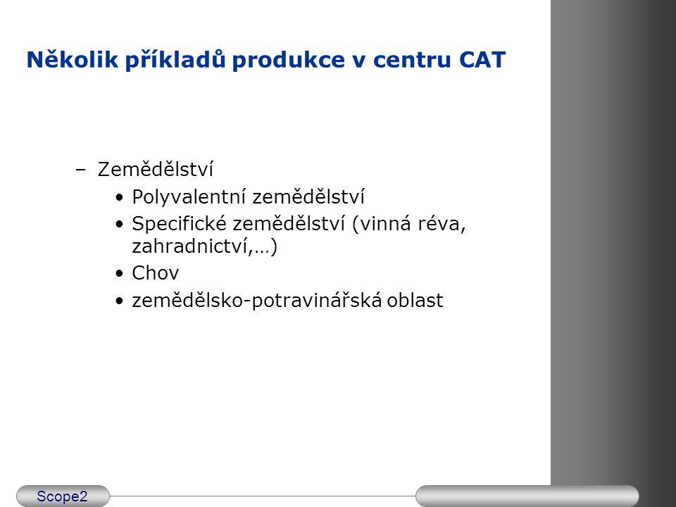 Scope2 –Průmysl Různé průmyslové výrobky Subdodavatelství a balení Řemeslnické profese Několik příkladů produkce v centru CAT