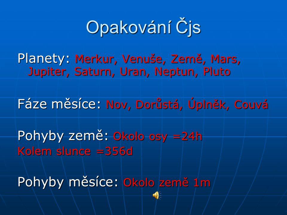 Planety: Merkur, Venuše, Země, Mars, Jupiter, Saturn, Uran, Neptun, Pluto Fáze měsíce: Nov, Dorůstá, Úplněk, Couvá Pohyby země: Okolo osy =24h Kolem s