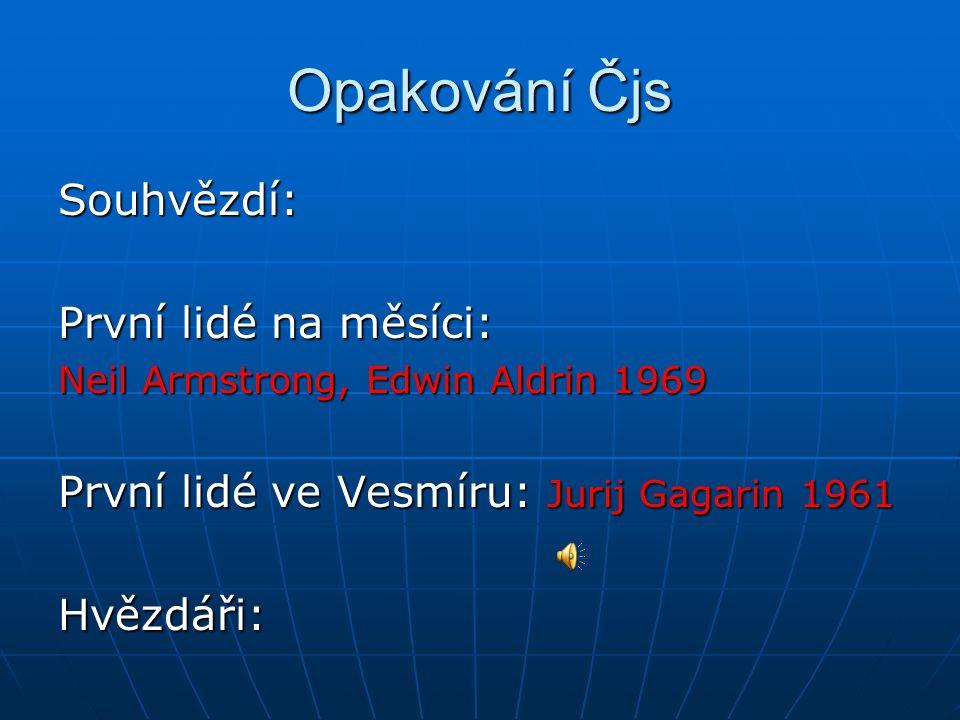 Opakování Čjs Souhvězdí: První lidé na měsíci: Neil Armstrong, Edwin Aldrin 1969 První lidé ve Vesmíru: Jurij Gagarin 1961 Hvězdáři: