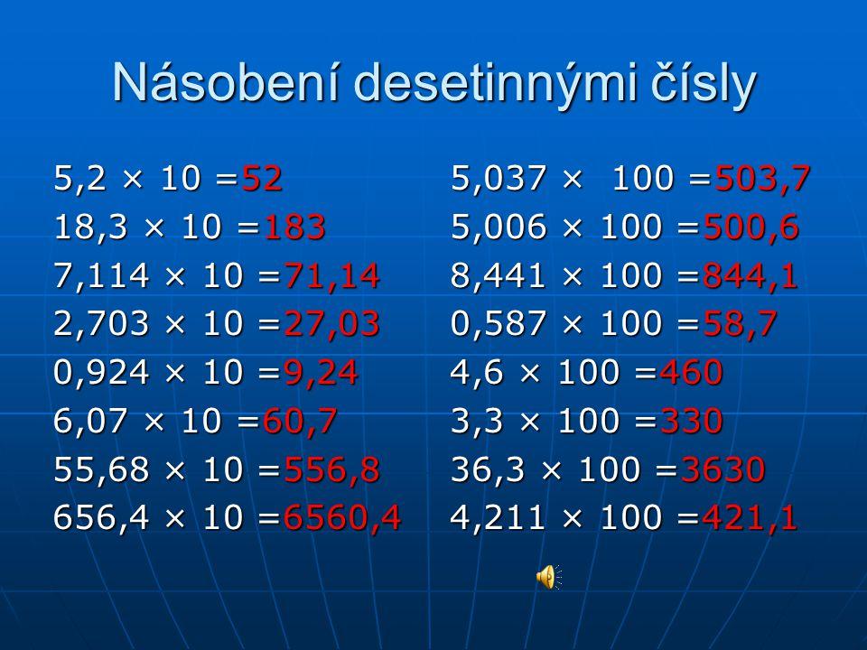 Dělení desetinným číslem 74 : 10 = 18 : 10 = 35,6 : 10 = 53,0 : 10 = 9,9 : 10 = 45,72 : 10 = 70,8 : 10 = 700,3 : 10 = Vypočítej 12,1 : 100 = 12,9 : 100 = 56,6 : 100 = 6,8 : 100 = 64,0 : 100 = 24,9 : 100 = 412,1 : 100 = 188,8 : 100 =