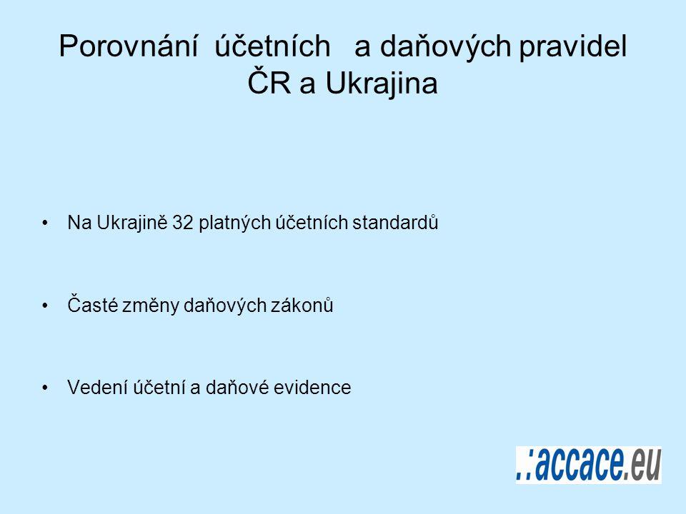 Porovnání účetních a daňových pravidel ČR a Ukrajina Na Ukrajině 32 platných účetních standardů Časté změny daňových zákonů Vedení účetní a daňové evidence
