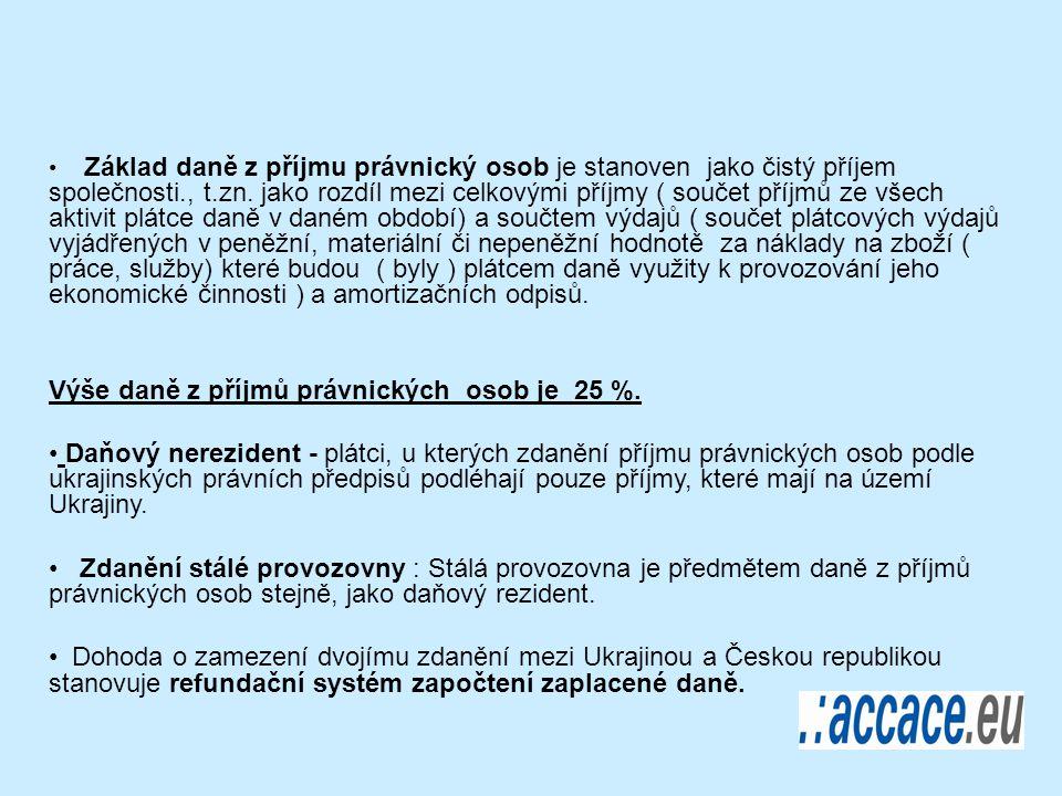 Základ daně z příjmu právnický osob je stanoven jako čistý příjem společnosti., t.zn.