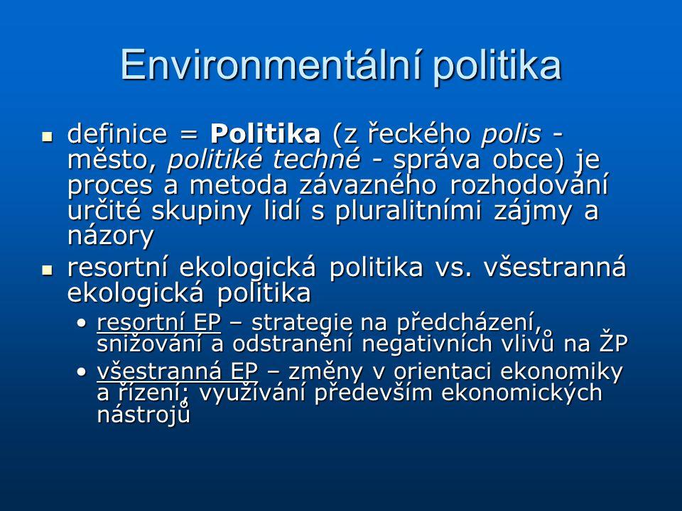 Environmentální politika definice = Politika (z řeckého polis - město, politiké techné - správa obce) je proces a metoda závazného rozhodování určité